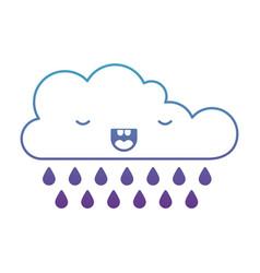 Kawaii cloud with rain in degraded blue to purple vector