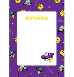 Kids diploma with space background vector