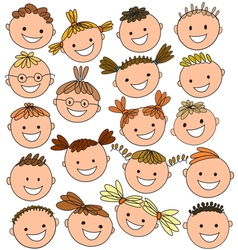 Kids heads colored vector
