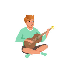 man sitting with crossed legs playing the acoustic vector image