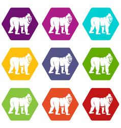 Mandrill monkey icon set color hexahedron vector