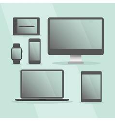 Modern digital devices set with black frames vector