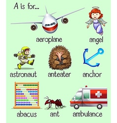 Poster of many words begins with letter a vector