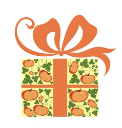 Present with Pumpkin vector image