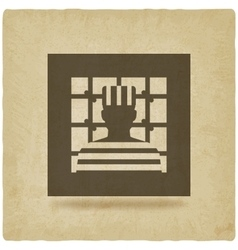 Prisoner in jail justice symbol old background vector