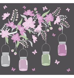 Purple Floral Branch With Jars vector image vector image