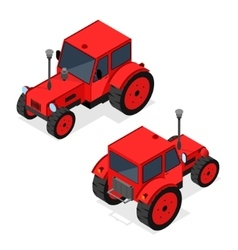 Red Tractor Set Isometric View vector image