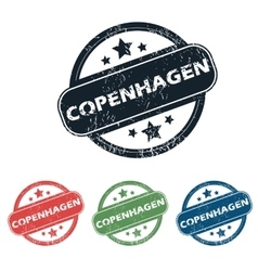 Round copenhagen city stamp set vector