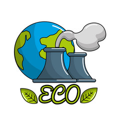 save planet of pollution factories icon vector image vector image
