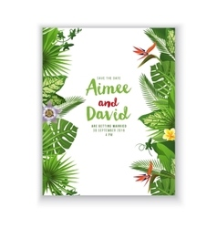 Save the date card in tropical style vector image vector image