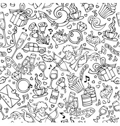 seamless doodles valentines pattern vector image