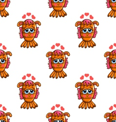 Seamless pattern with cute cartoon monsters-3 vector image vector image