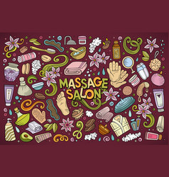Set of massage and spa objects vector