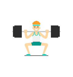 sporty boy in sportswear cowering with barbell vector image