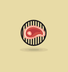 steak beef on grill barbecue icon vector image