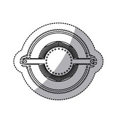 Sticker of gear abstract art deco emblem vector