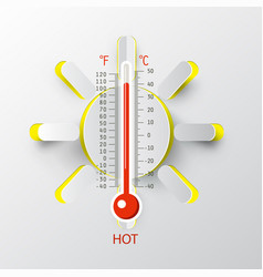 Thermometer with paper cut sun hot weather symbol vector