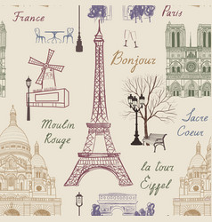 Travel paris city seamless pattern europe famous vector