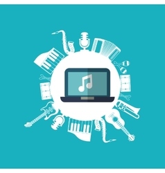Music sound instrument laptop vector