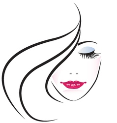Face of pretty woman silhouette vector image