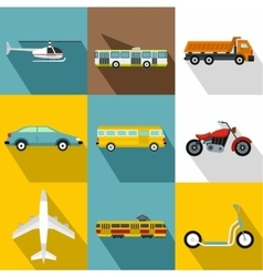 Trip on transport icons set flat style vector