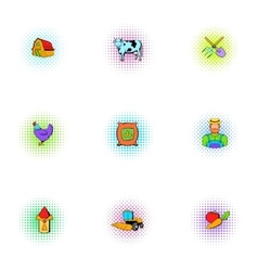Farmhouse icons set pop-art style vector