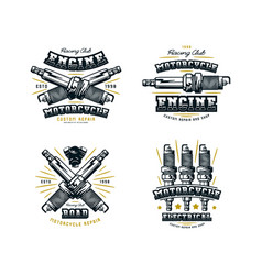 set of motorcycle club emblem for t-shirt vector image