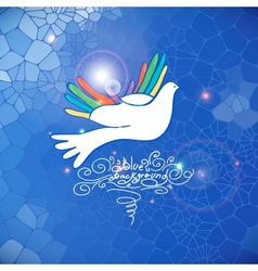 Hand and bird pigeon dove vector