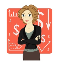 Brown-haired business woman wearing a suit vector
