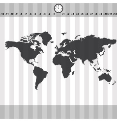 Time zones world map with clock and stripes eps10 vector
