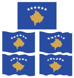 Flat and waving flag of kosovo vector
