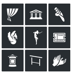 Set of Ballet Icons Curtain Theater vector image