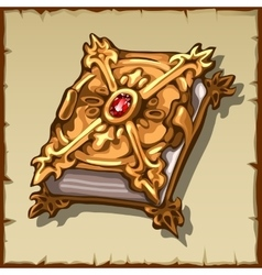 Ancient magic book in a gold cover with ruby gem vector