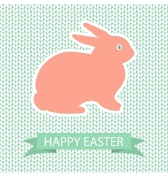 Easter card with pink rabbit on wool knited vector