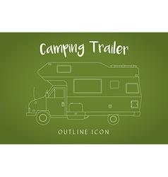 Camping Trailer Family Traveler Truck Outline Icon vector image