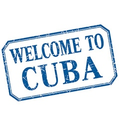 Cuba - welcome blue vintage isolated label vector