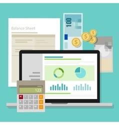 Accounting software balance sheet money calculator vector