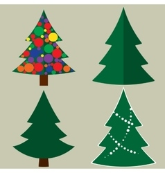 Christmas tree cartoon icons set Green silhouette vector image