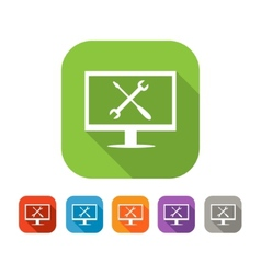 Color set of flat computer repair icon vector