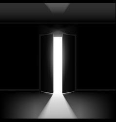 Exit door with light on black empty background vector
