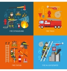 Fireman concept 4 flat icons square vector