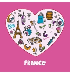 Great france colored doodles collection vector