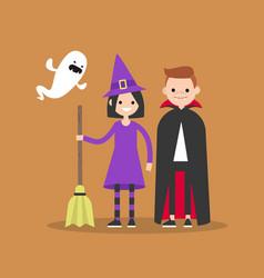 halloween trick or treat set flat set of vector image vector image