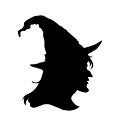 Halloween witch head silhouette vector