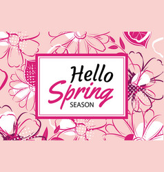 Hello spring banner template with colorful vector