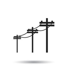 High voltage power lines electric pole icon on vector