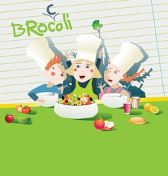Kids cooking healthy food vector