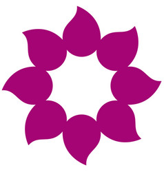 Magenta petals forming flower icon vector