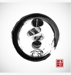 Pebble zen stones balance in black enso zen circle vector