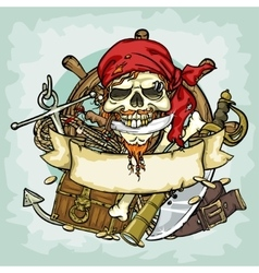 Pirate Skull logo design vector image